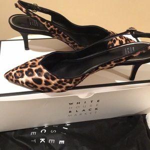 White House Black Market Shoes - White House Black Market Phoebe Leopard Sling NEW